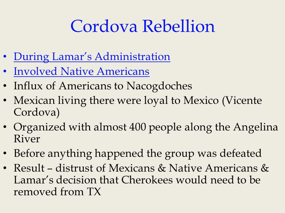 Cordova Rebellion During Lamar's Administration