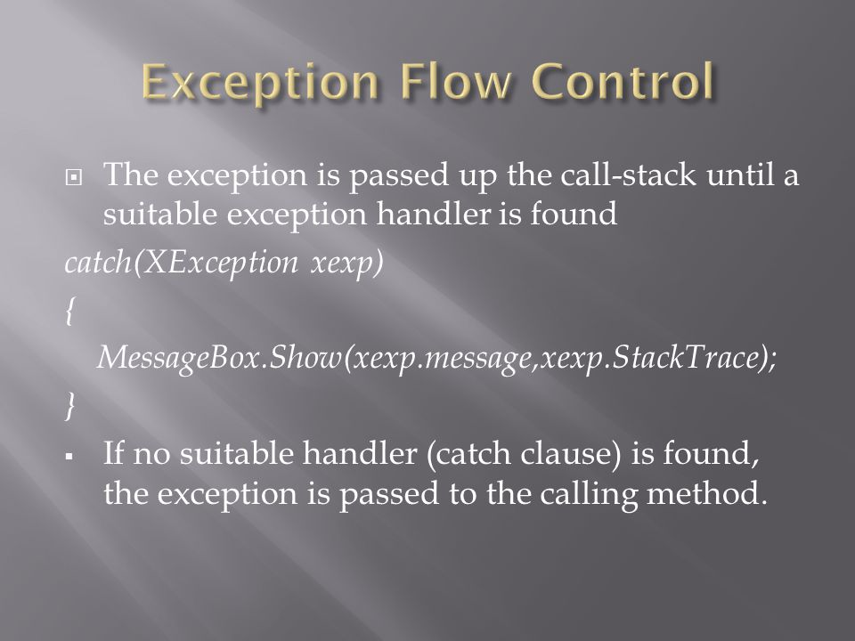 Exception Flow Control