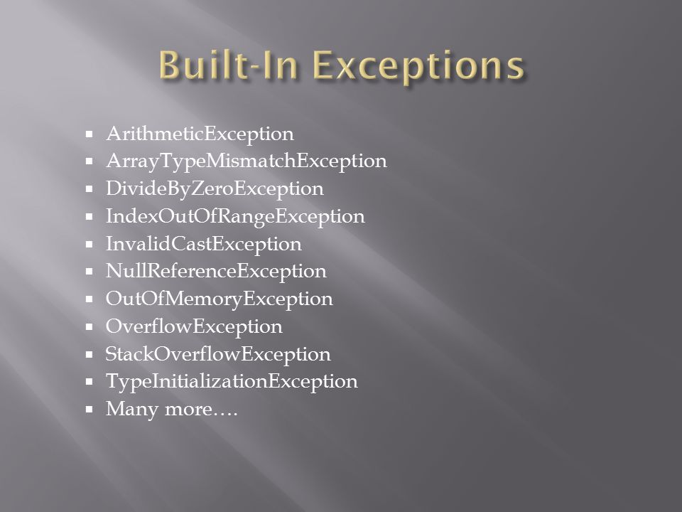 Built-In Exceptions ArithmeticException ArrayTypeMismatchException