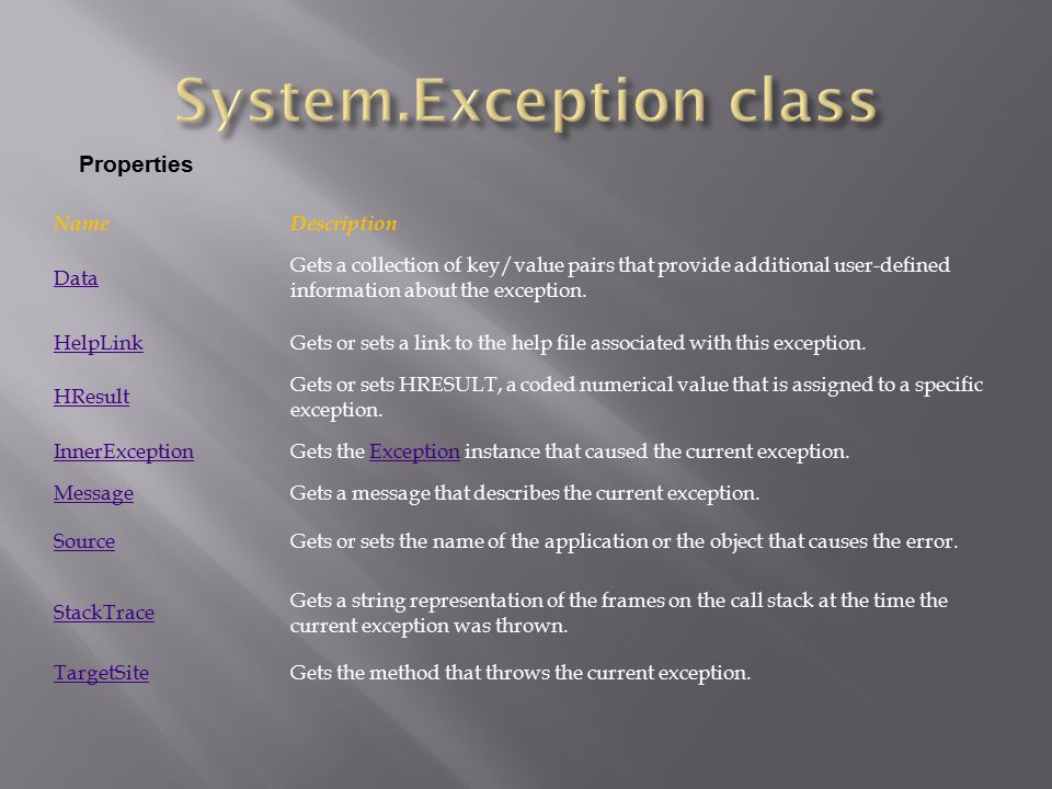 System.Exception class