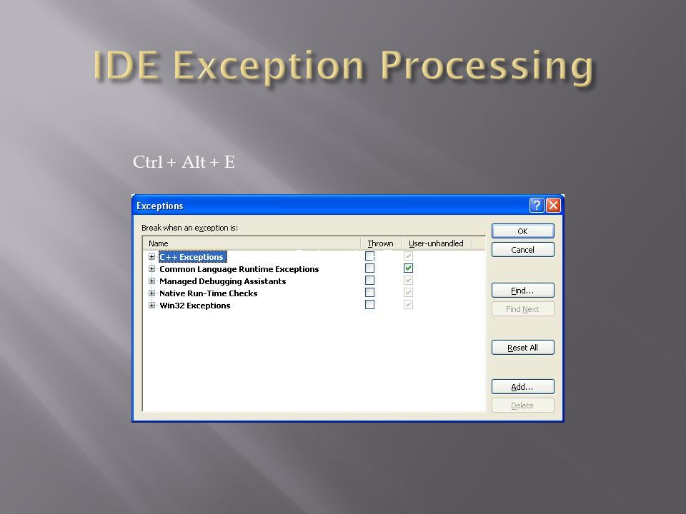 IDE Exception Processing