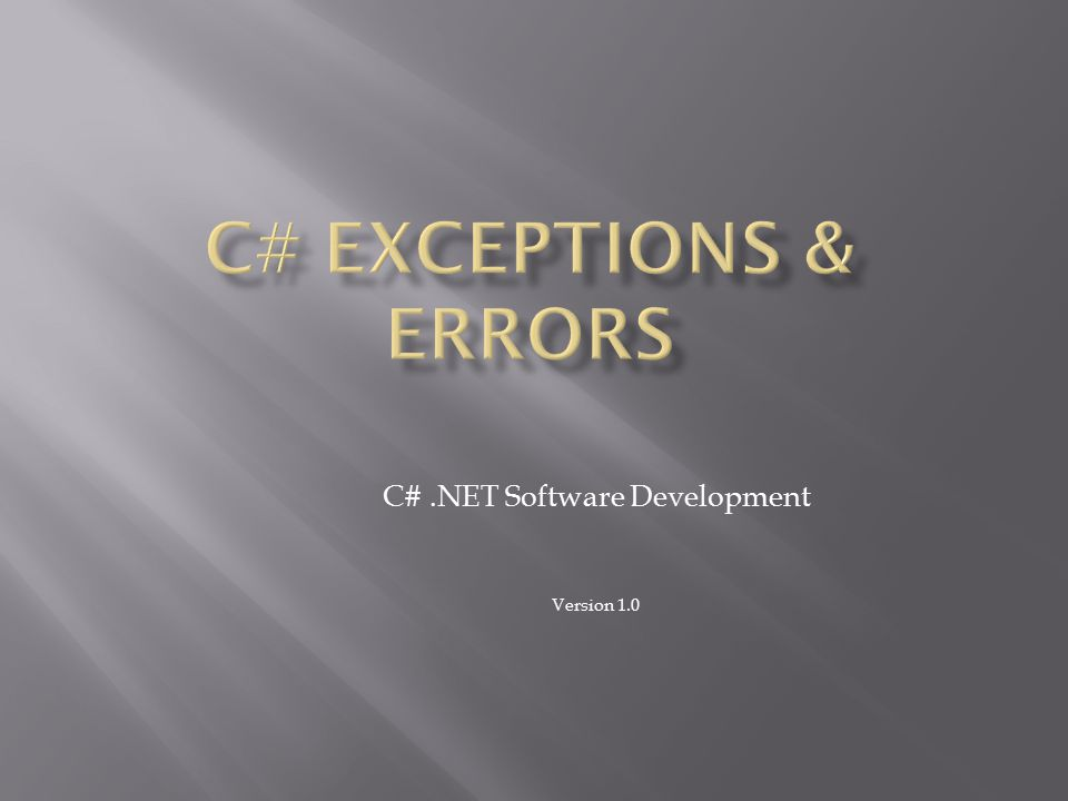 C# .NET Software Development Version 1.0
