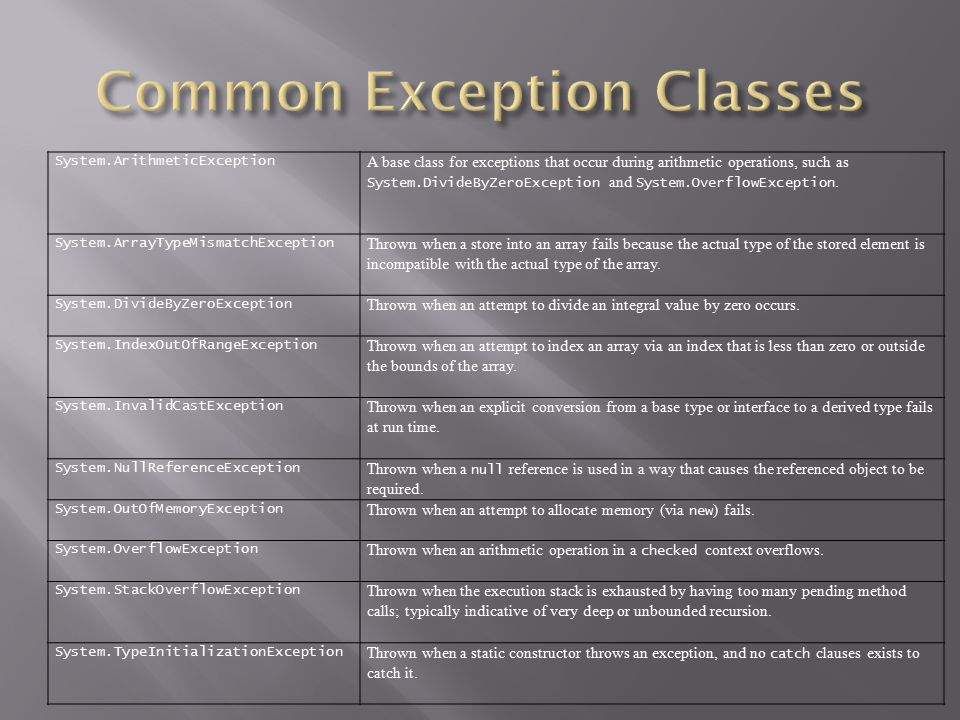 Common Exception Classes