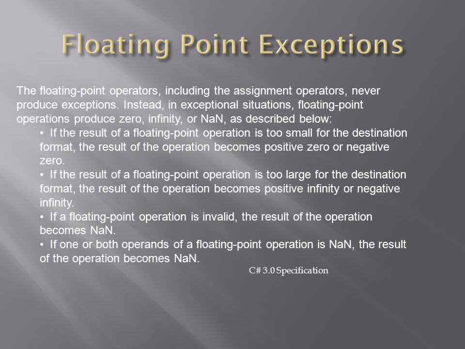 Floating Point Exceptions