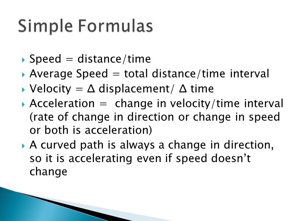Simple Formulas Speed = distance/time