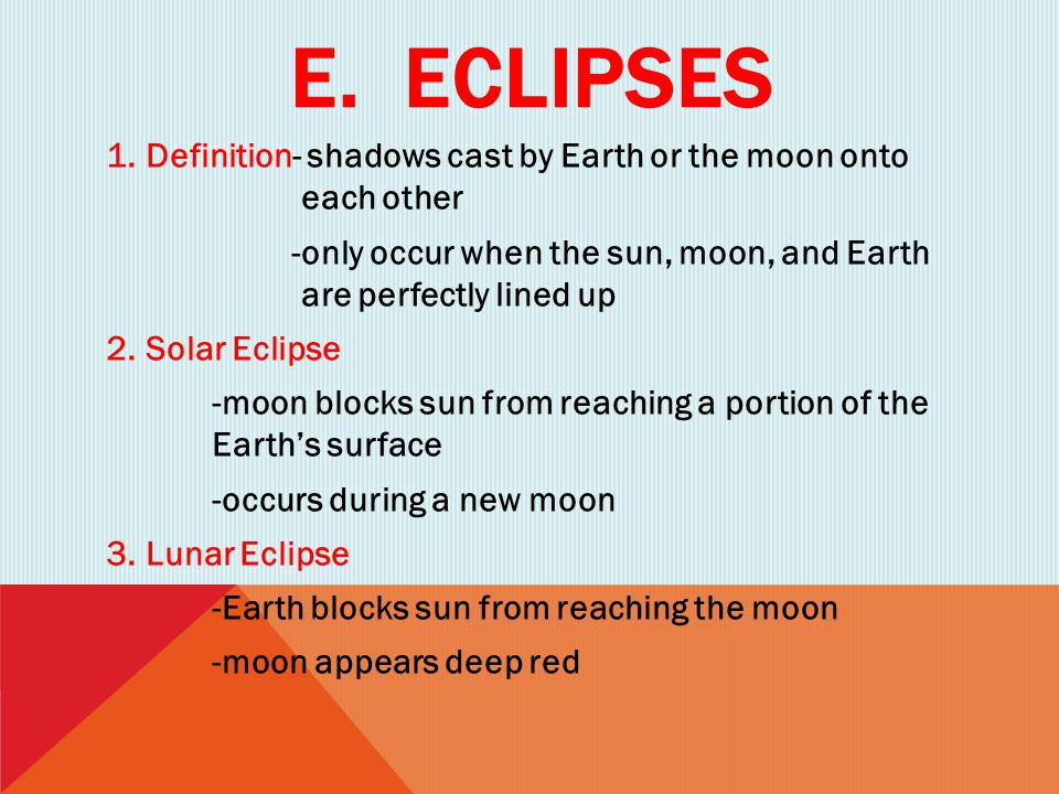 E. Eclipses Definition- shadows cast by Earth or the moon onto each other.