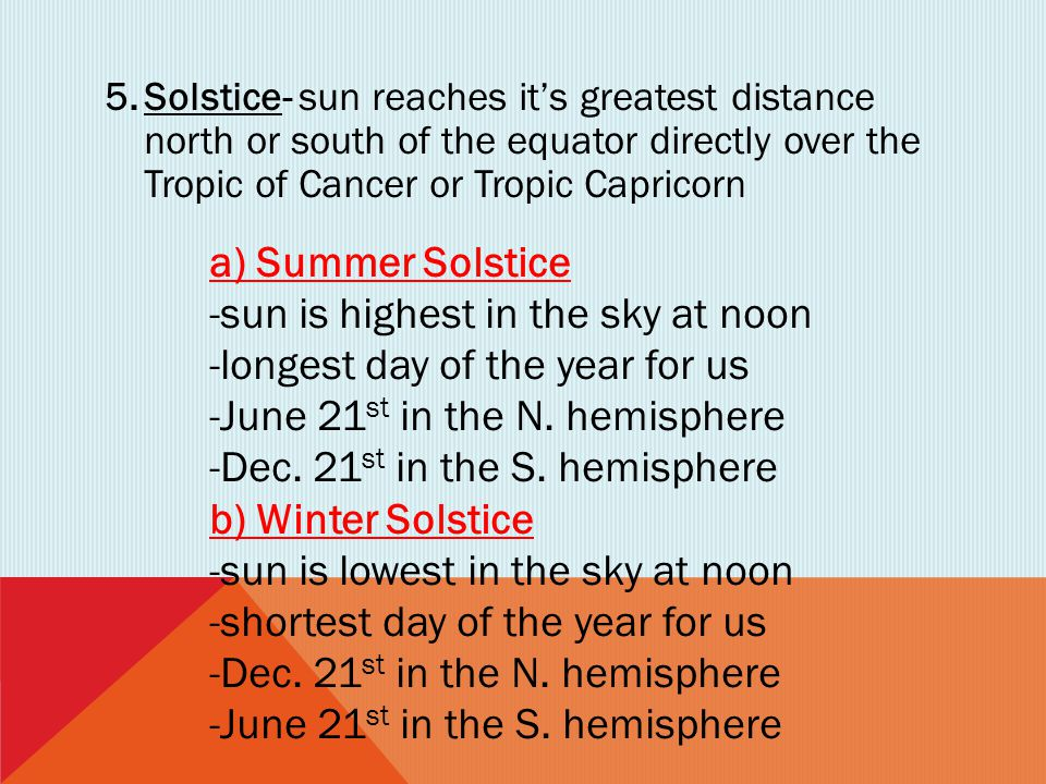 -sun is highest in the sky at noon -longest day of the year for us