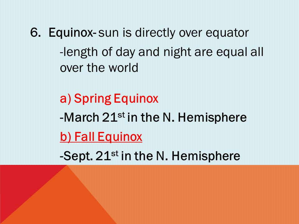 Equinox- sun is directly over equator
