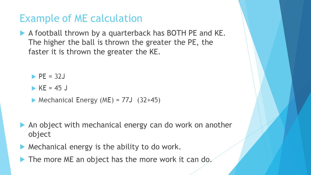Example of ME calculation