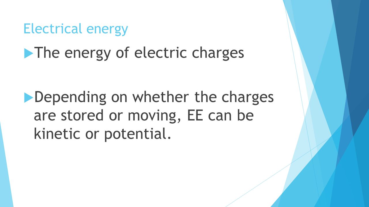 The energy of electric charges