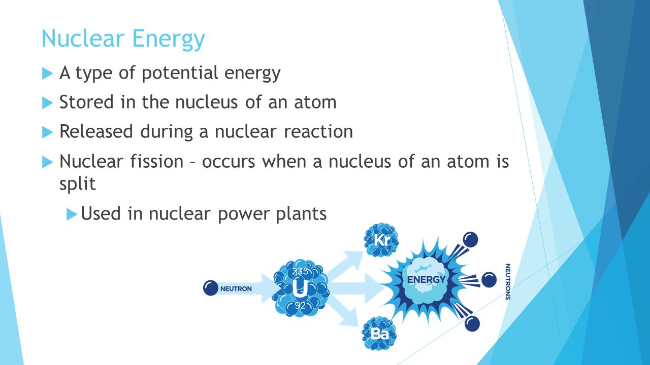 Nuclear Energy A type of potential energy
