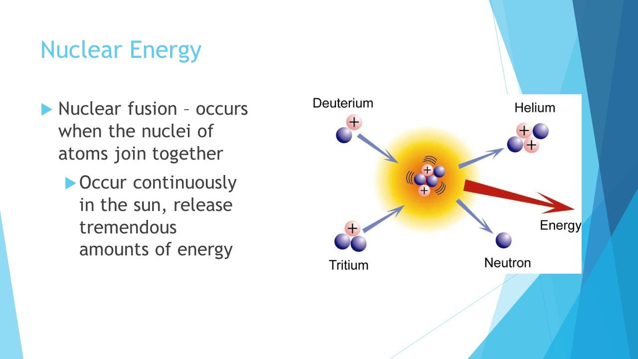 Nuclear Energy Nuclear fusion – occurs when the nuclei of atoms join together.