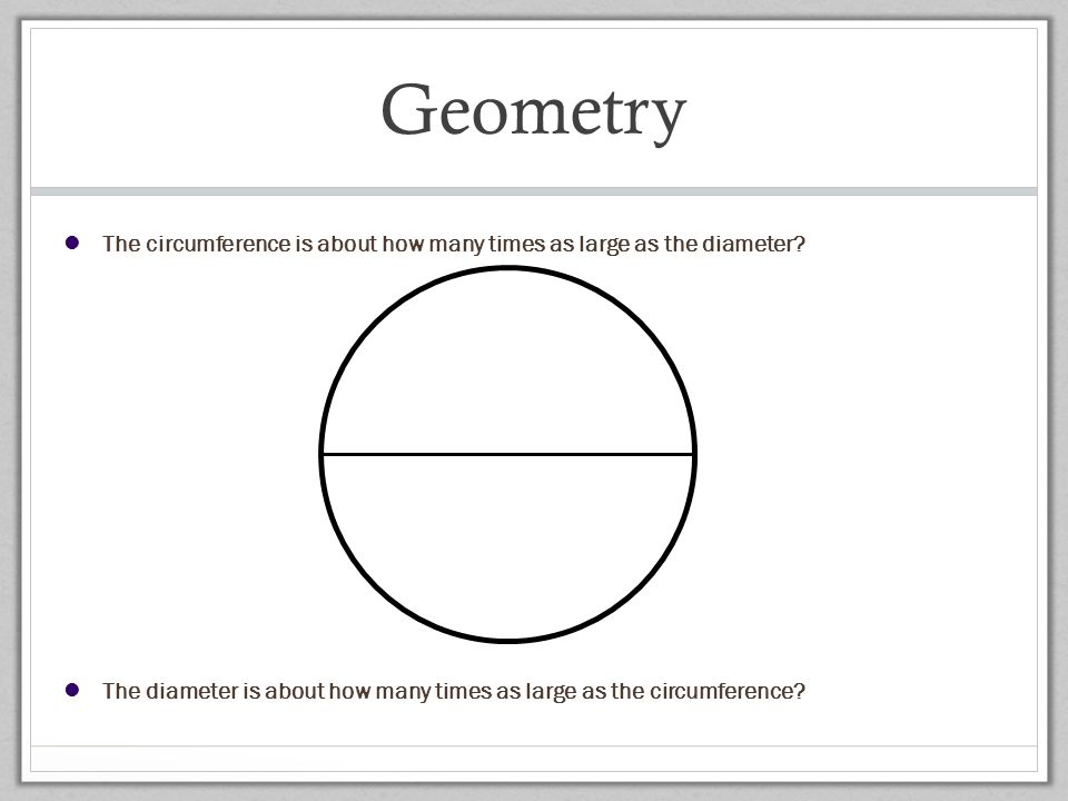 Geometry The circumference is about how many times as large as the diameter The diameter is about how many times as large as the circumference