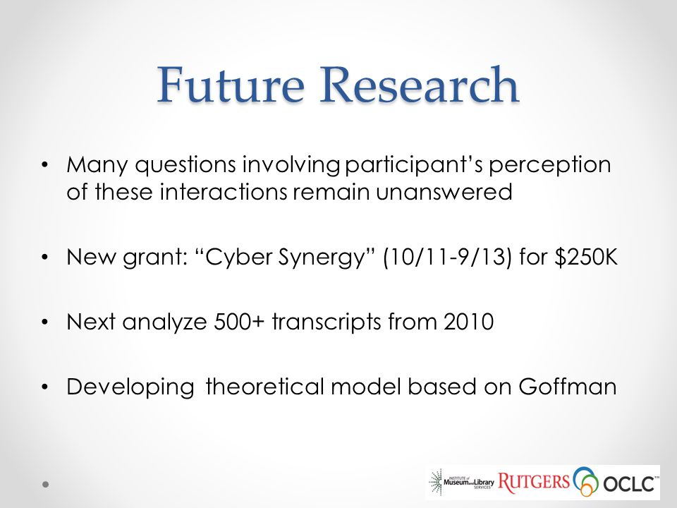 Future Research Many questions involving participant's perception of these interactions remain unanswered.