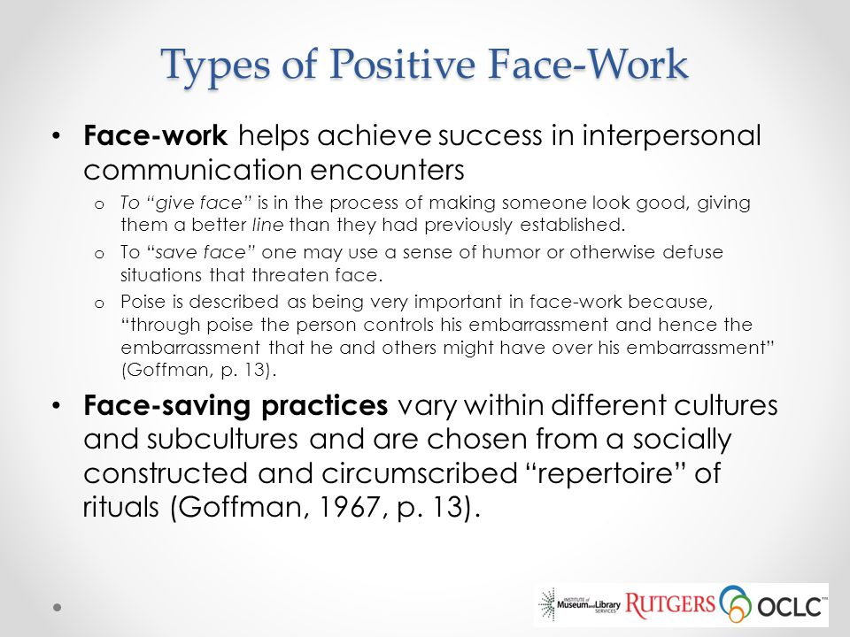 Types of Positive Face-Work