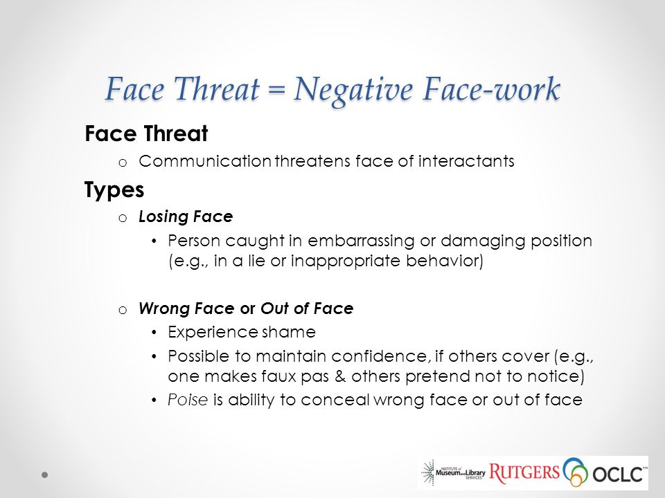 Face Threat = Negative Face-work