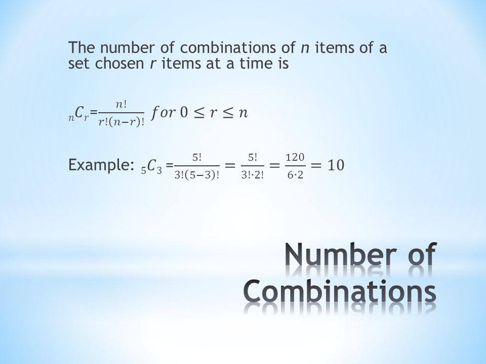Number of Combinations