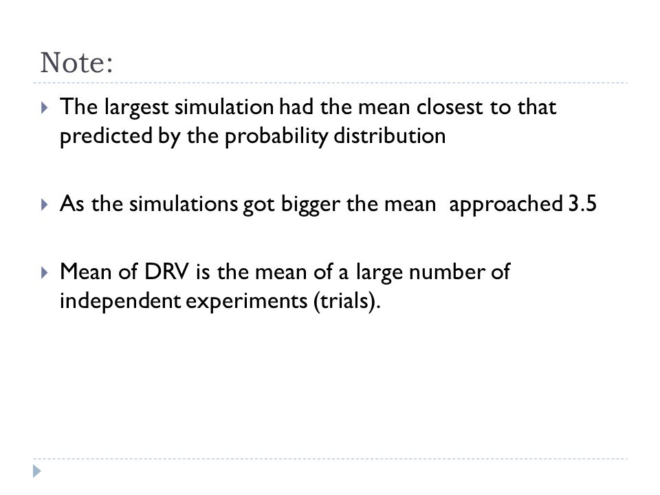 Note: The largest simulation had the mean closest to that predicted by the probability distribution.