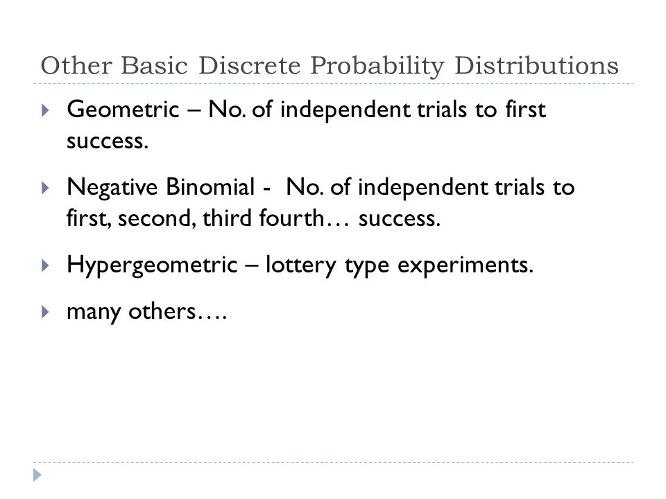 Other Basic Discrete Probability Distributions