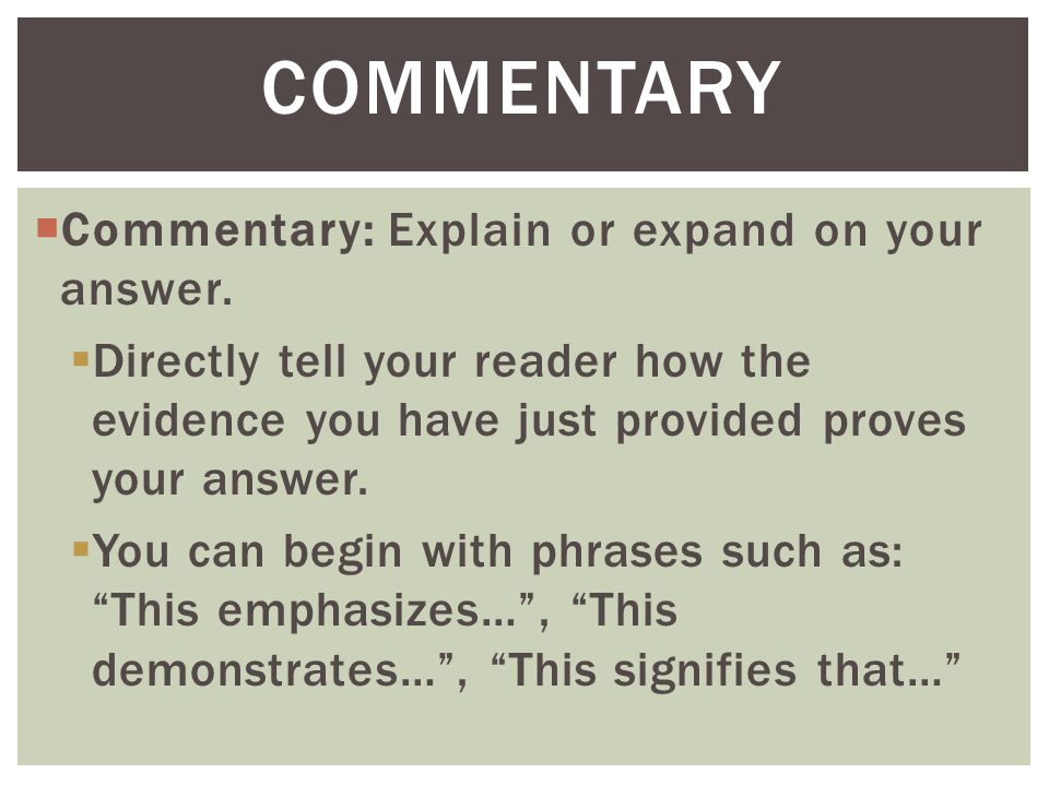 commentary Commentary: Explain or expand on your answer.