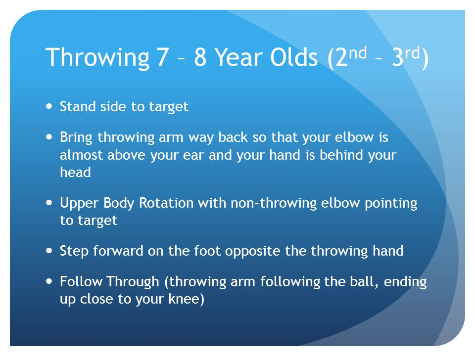 Throwing 7 – 8 Year Olds (2nd – 3rd)