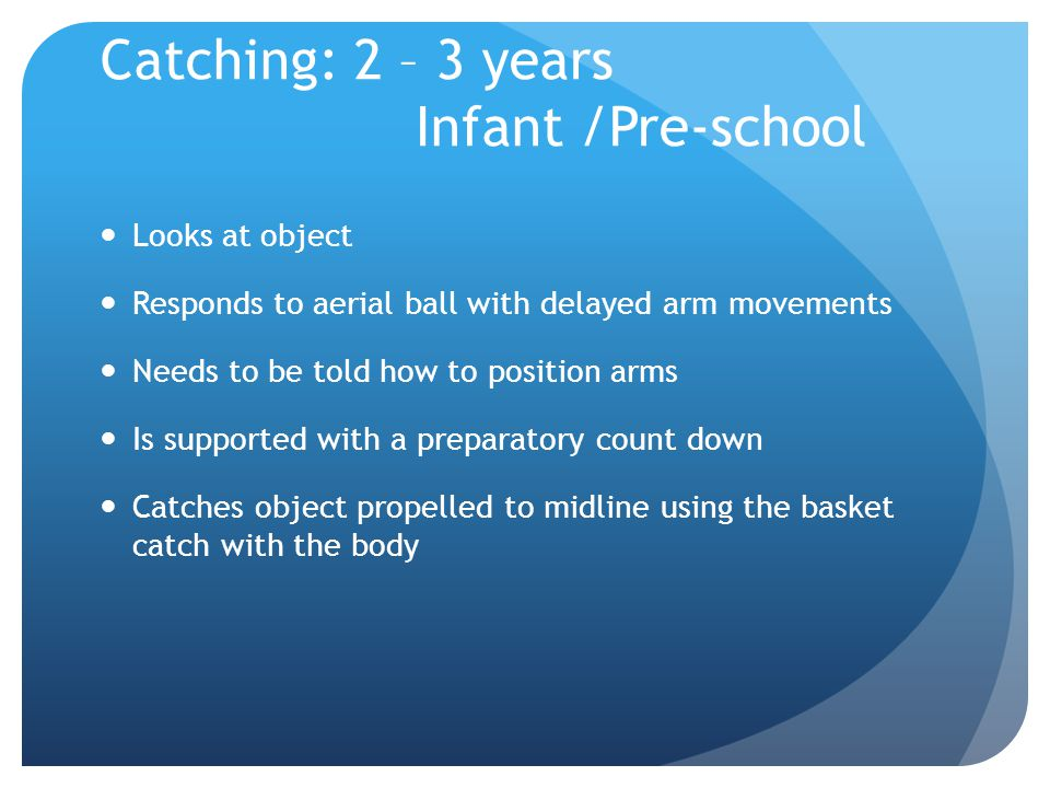 Catching: 2 – 3 years Infant /Pre-school