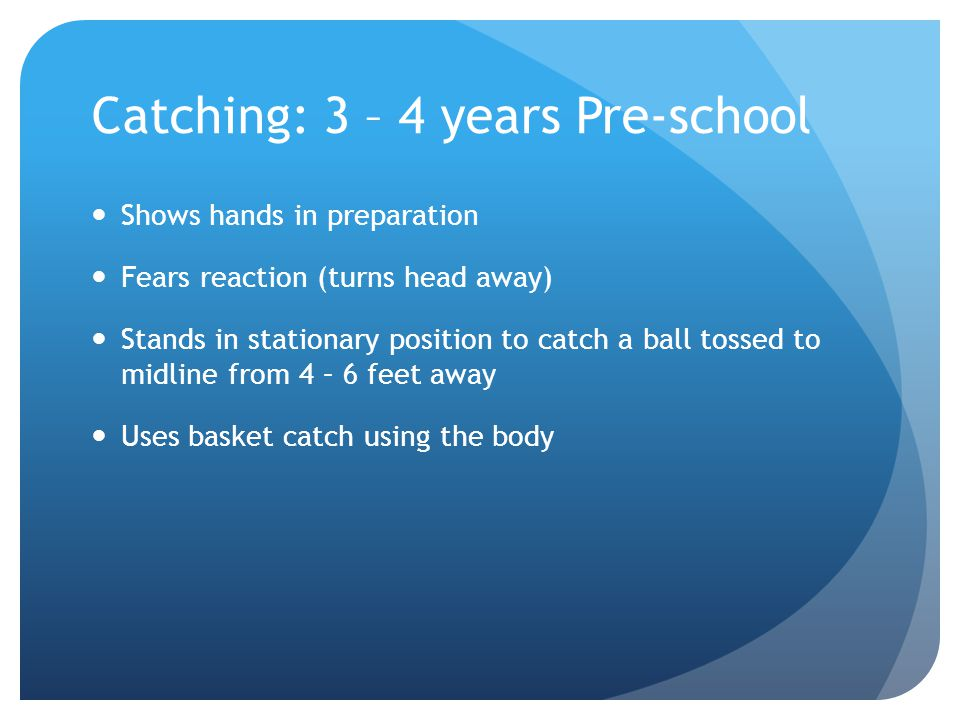 Catching: 3 – 4 years Pre-school