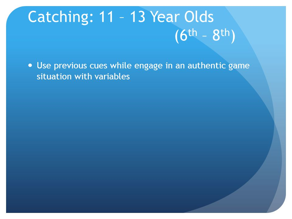 Catching: 11 – 13 Year Olds (6th – 8th)