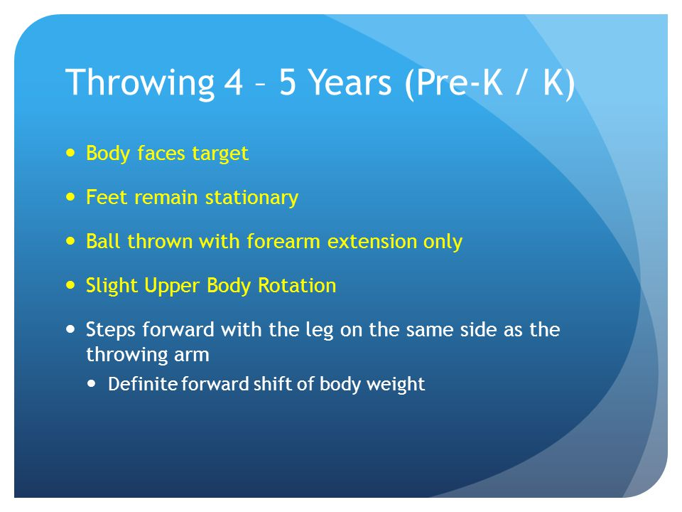 Throwing 4 – 5 Years (Pre-K / K)