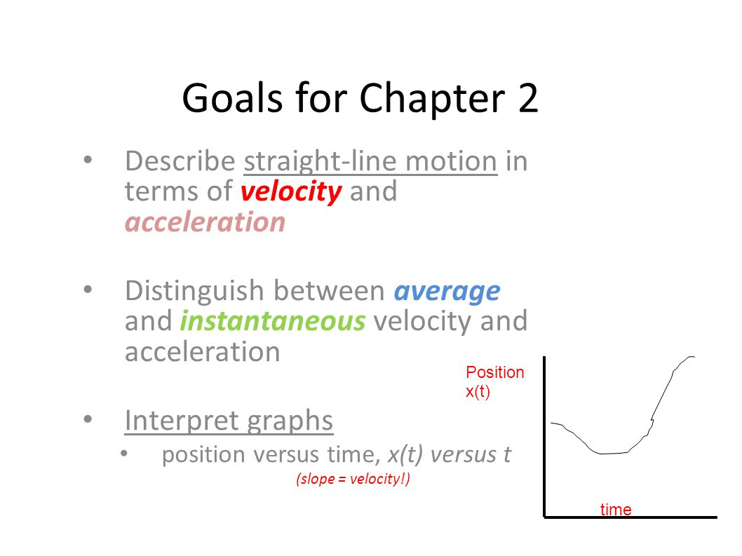 Goals for Chapter 2 Describe straight-line motion in terms of velocity and acceleration.