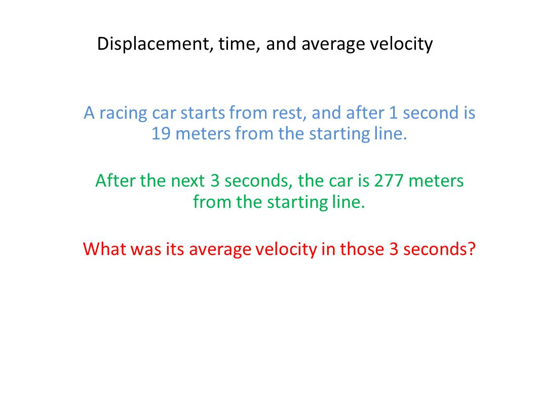 Displacement, time, and average velocity