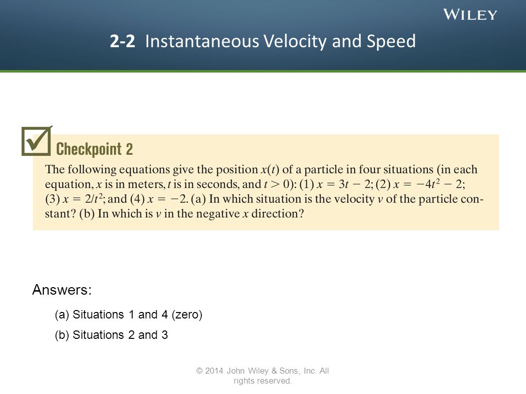 2-2 Instantaneous Velocity and Speed