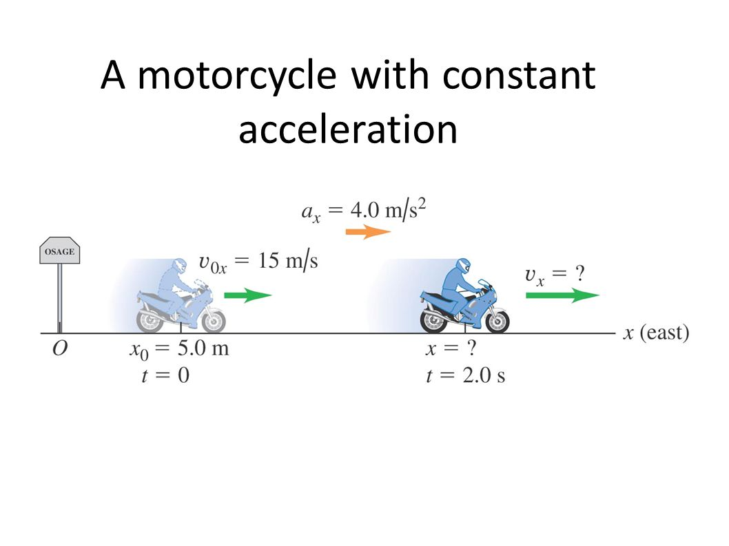 A motorcycle with constant acceleration