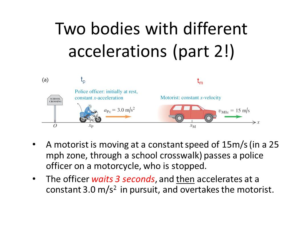 Two bodies with different accelerations (part 2!)
