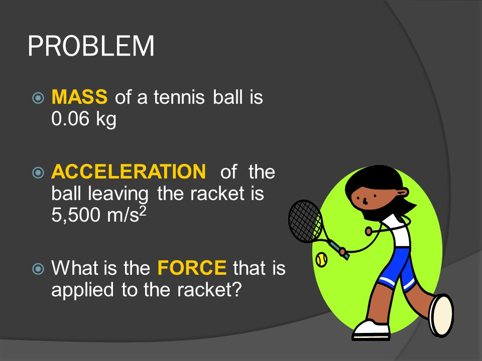 PROBLEM MASS of a tennis ball is 0.06 kg