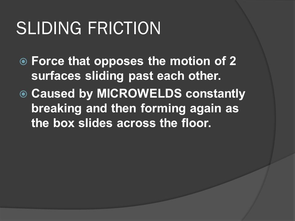 SLIDING FRICTION Force that opposes the motion of 2 surfaces sliding past each other.