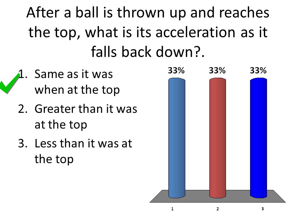 After a ball is thrown up and reaches the top, what is its acceleration as it falls back down .