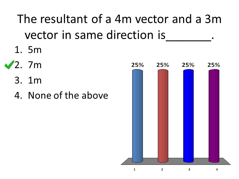 The resultant of a 4m vector and a 3m vector in same direction is_______.