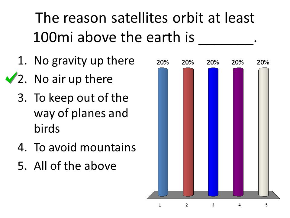 The reason satellites orbit at least 100mi above the earth is _______.