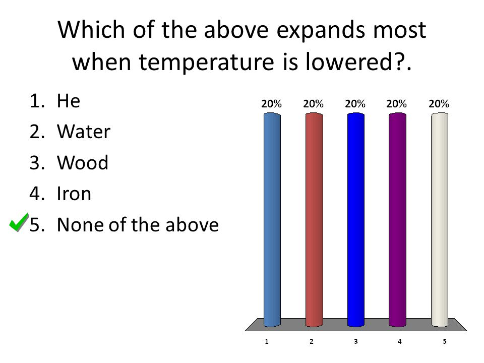 Which of the above expands most when temperature is lowered .