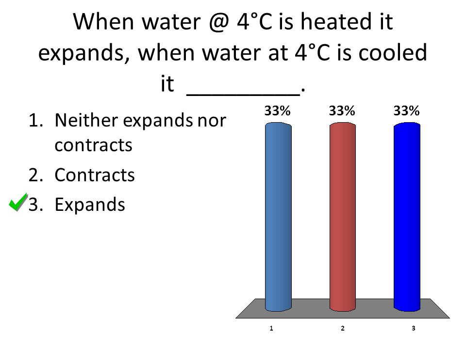 When water @ 4°C is heated it expands, when water at 4°C is cooled it _________.