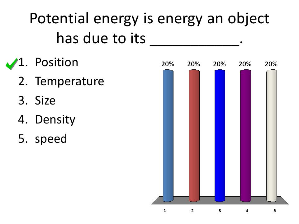 Potential energy is energy an object has due to its ___________.