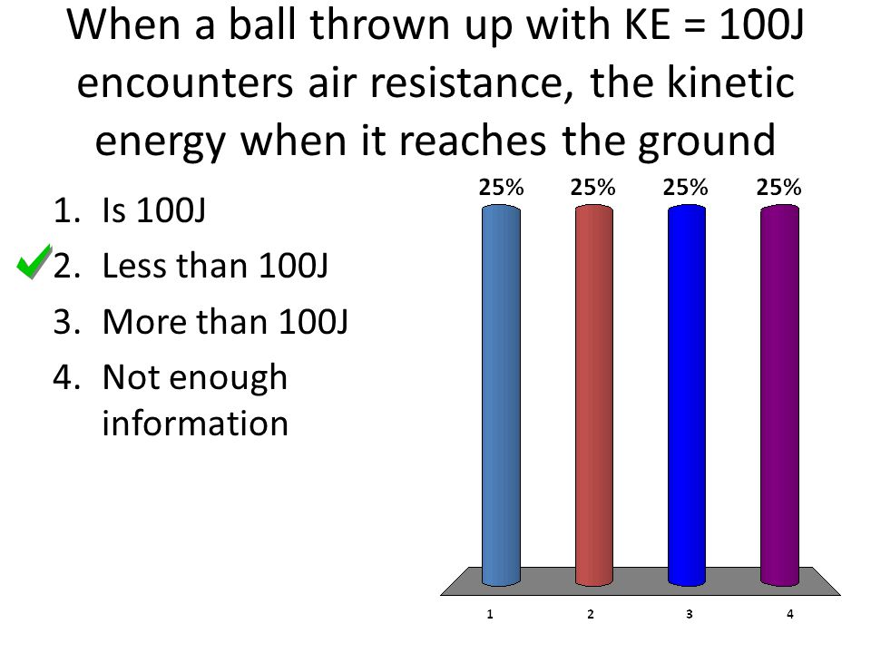When a ball thrown up with KE = 100J encounters air resistance, the kinetic energy when it reaches the ground
