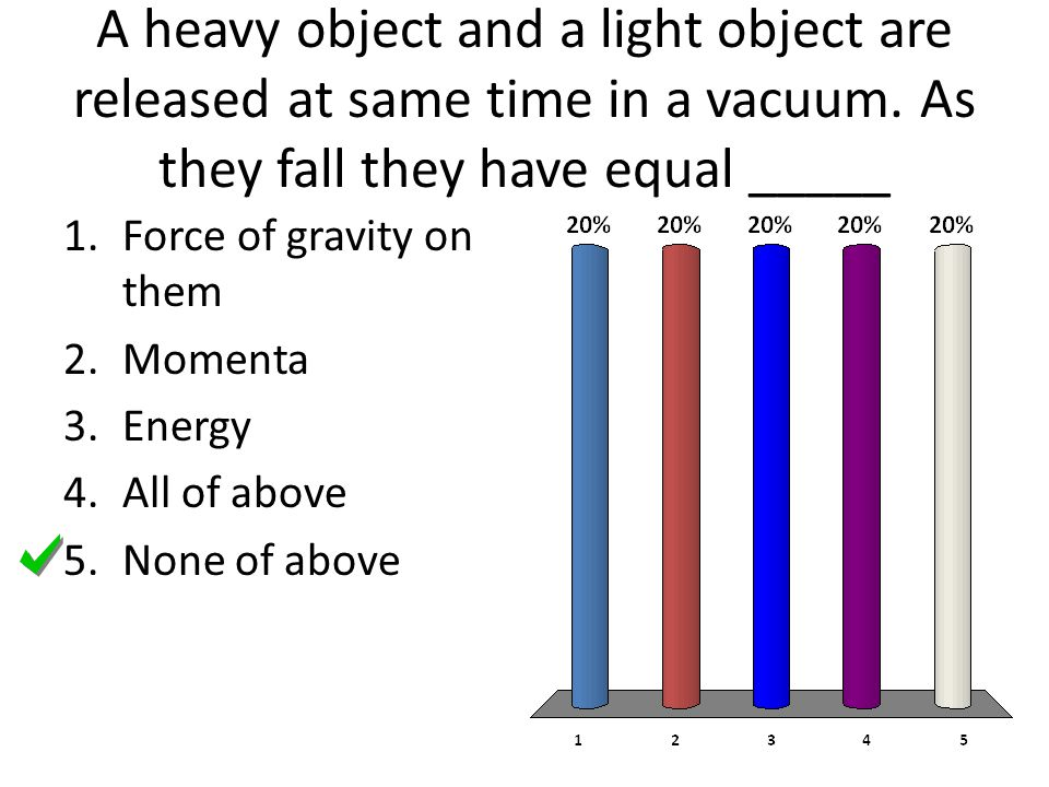 A heavy object and a light object are released at same time in a vacuum. As they fall they have equal _____