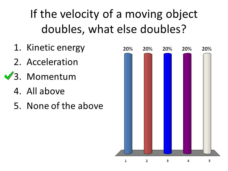 If the velocity of a moving object doubles, what else doubles