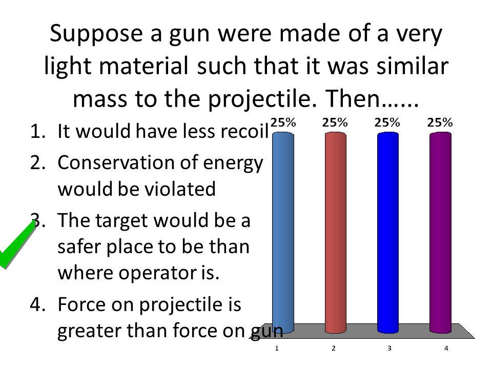 Suppose a gun were made of a very light material such that it was similar mass to the projectile. Then…...