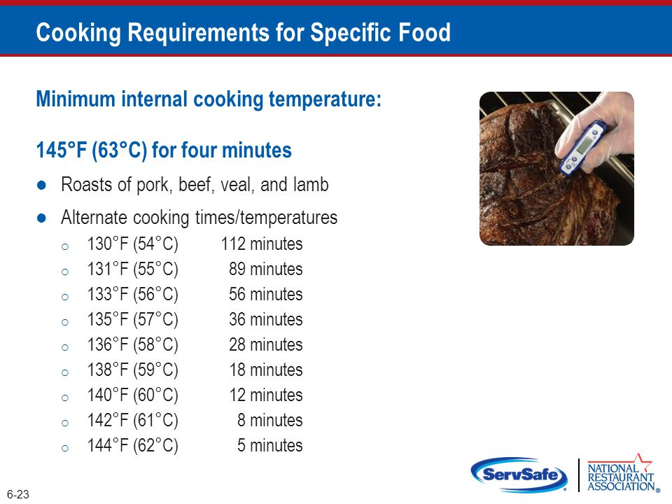 Cooking Requirements for Specific Food