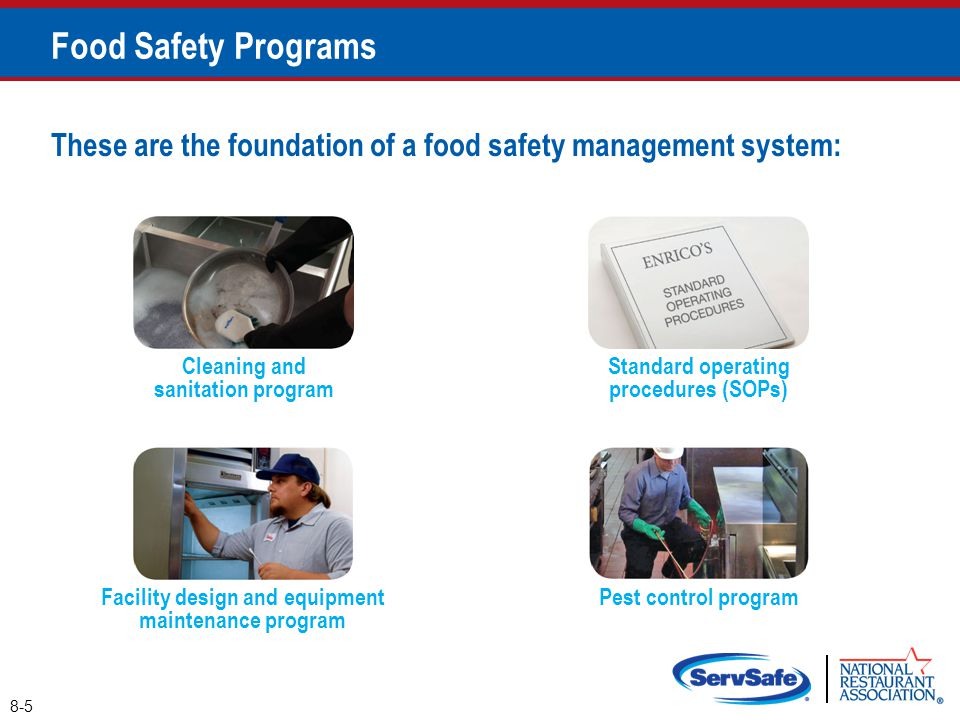 Food Safety Programs These are the foundation of a food safety management system: Cleaning and sanitation program.