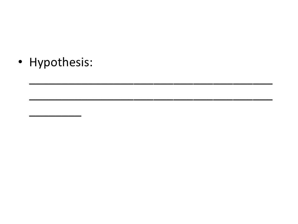 Hypothesis: __________________________________________________________________________________