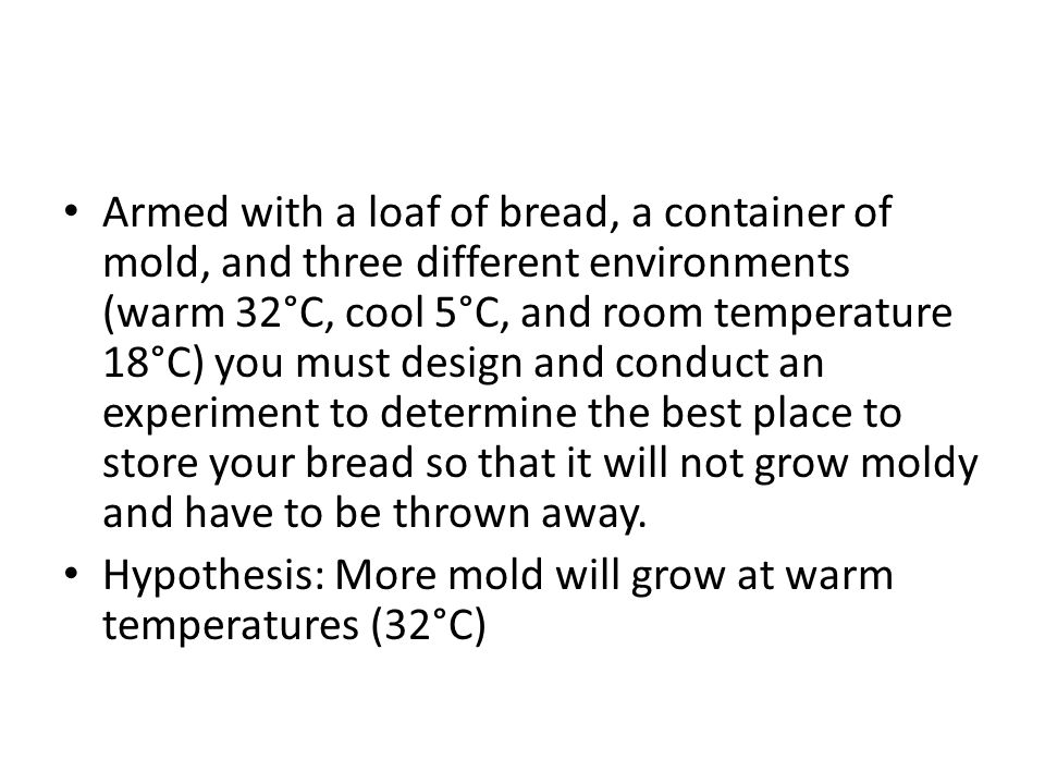 Armed with a loaf of bread, a container of mold, and three different environments (warm 32°C, cool 5°C, and room temperature 18°C) you must design and conduct an experiment to determine the best place to store your bread so that it will not grow moldy and have to be thrown away.